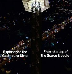 View the Gatlinburg Strip from the Space Needle.  Welcome to the Smoky Mtns.  Availability & Rates for cabins in real time are on website 24/7, as well as contact info. #smokymountains #vacationrental #cabinrental #smokymountainscabinrental #travel #mybearfootcabins #bookdirect #vacation #themountainsarecalling