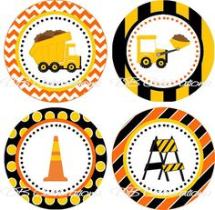 Construction Truck Party Cupcake Toppers INSTANT DOWNLOAD
