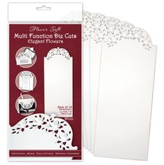 Elegant Flowers Multi Function Die Cuts White 10pk @ Custom Quilling Supplies These versatile card blanks are perfect for card making as they are so multi functional. 10 11.4 x 4.7 blanks