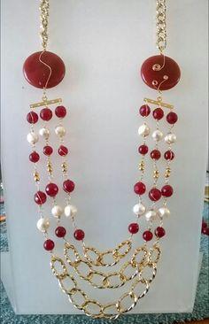 perlas de rio y agata cadena de aluminio anodizado $ 500.00