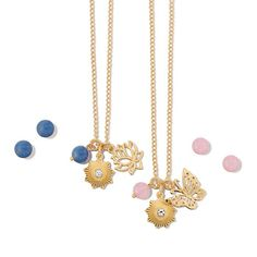 Available in Lotus Flower (Blue ) and Butterfly (Pink). New Beginnings Charm Collection: Gorgeous, yet simply stated goldtone charms with genuine quartz-bead accents. Regularly $19.99, shop Avon Jewelry online at http://eseagren.avonrepresentative.com