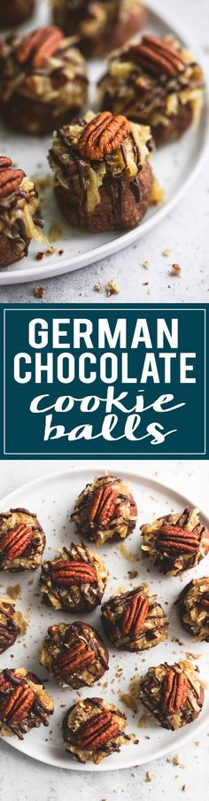 German Chocolate Cookie Balls are soft, chewy, and topped with the best coconut pecan frosting. | lecremedelacrumb.com