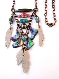Abalone and Leather Necklace with Antique Brass Chain & Pink Ceramic, Natural Turquoise, Heshi Beads, Tribal Boho Jewelry, Original  Design by MeyerClarkCreative on Etsy https://www.etsy.com/listing/218263504/abalone-and-leather-necklace-with