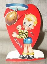 VINTAGE 1930s VALENTINE Die Cut Moveable Stand Up BOXER It Strikes Me