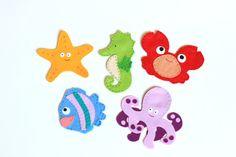 marionetas de dedo de fieltro fijadas - Animales del océano - paquete de 5