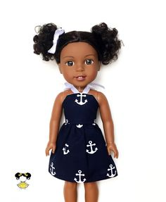 Halter Dress, Anchors, Navy Blue, White, 14.5, Fits dolls such as AG Wellie Wishers Doll Clothes by JoDeePetites on Etsy https://www.etsy.com/listing/486094228/halter-dress-anchors-navy-blue-white-145