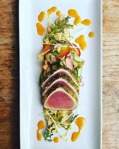 Furikaki Seared Albacore Tuna, Scallion Jasmine Rice, Pickled Sunny Cal Farm Plum & Cucumber, Miso-Ginger Vinaigrette  #tguci #tendergreens #irvine #eatyourgreens #lunch #salad #uci #universitytowncenter #ucirvine #orangecounty #yelp #yelpoc #chefinspired #tuna  #ocfoodies #fish #seafood #humpday #instagood #rice #instafood #instayum #miso #pickled #wednesday #foodlover #blogger