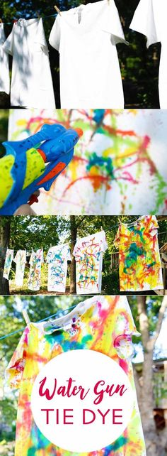 How to squirt gun tie dye! A super fun outdoor activity to do with the kids this summer. Step by step instructions provided.
