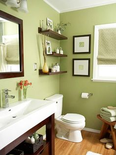 Guest bathroom.  LOVE this green