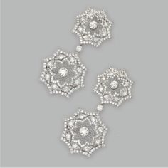 Buccellati 18 karat white gold and diamond earrings