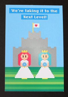 awww, so adorable. I wonder if these can be customized?  8 bit Video Game Wedding Invitation (Lesbian Couple) - Postcard Style