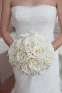 white rose bouquet...this with pops of champagne and blush. simple, elegant  classy