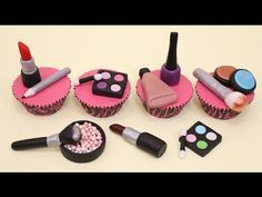 Makeup Cupcakes/Cake Toppers - How To Make by CakesStepbyStep - YouTube