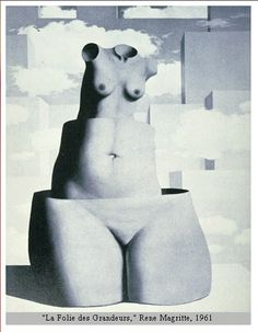 PROPORTION, PRINCIPLES OF DESIGN.  Magritte took liberties with the natural proportions of the human body to achieve his expressive goals.