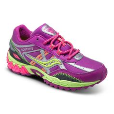 Saucony Excursion in Berry/Silver/Citron. #girlsrunningshoes #girlssneakers #girlshoes #sauconyexcursion
