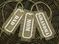 Set of 3 Personalized Tags from Natural Linen Fabric by MilaStyle