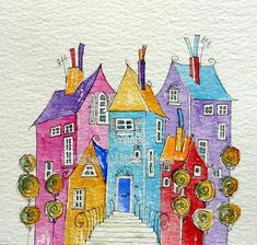 Houses together - An original watercolour painting