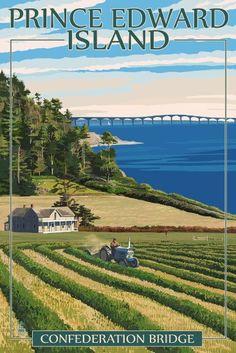 Prince Edward Island, Canada - Confederation Bridge and Farm Art Print, Wall Decor Travel Poster) Wall Art Prints, Poster Prints, Wall Mural, Wall Decor, National Park Posters, Farm Art, Destinations, Prince Edward Island, Vintage Travel Posters