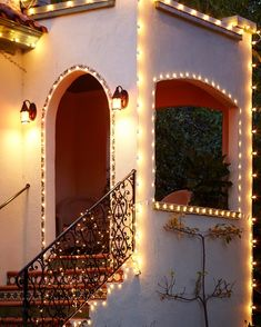 Christmas Lights on Mission Style Home, Nontraditional Holiday Decor, Gardenista Christmas Lights Outside, Christmas House Lights, Holiday Lights, Outdoor Christmas, Holiday Decor, Christmas Houses, Christmas Yard, Mission Style Homes, Spanish Style Homes