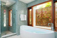 Terrapin Villa, Turks and Caicos, TC Millwork renovation, custom woodwork, custom windows, doors, privacy screens, Caribbean, photo by Steve Passmore, master bath, contemporary, aqua tiles