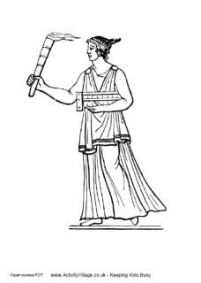 Ancient Greece coloring pages~Greek torch bearer colouring page