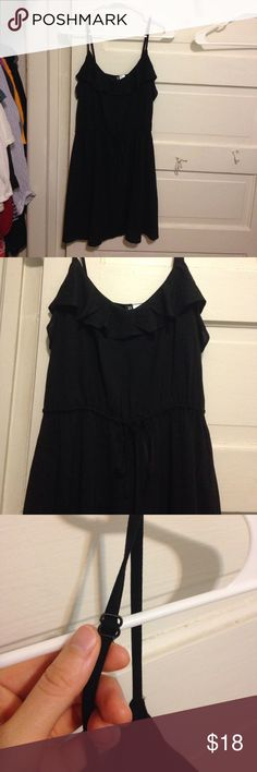 H&M black sundress 🌺NWOT 🌺 size 6 Ruffles along front to back, drawstring along midriff, and adjustable thin straps. Has never been worn, in perfect condition. Perfect for summertime! Smoke free home. H&M Dresses