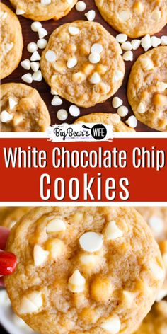 Bakery Style White Chocolate Chip Cookies - Skip the line at the cookie store in the Mall and whip up a bath of these amazing Bakery Style White Chocolate Chip Cookies in your own kitchen! Chocolate Chip Recipes Easy, Healthy Chocolate Cookies, Desserts With Chocolate Chips, White Chocolate Chip Cookies, Slow Cooker Recipes Dessert, Dessert Recipes, Snacks Recipes, Free Recipes, Cookie Recipes