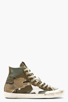 GOLDEN GOOSE Green camouflage FRANCY High-top sneakers