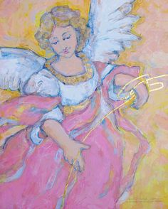 Angel! Acrylic, rubber brush, leaf gold.