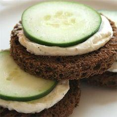 ***Cucumber Sandwich Appetizers Allrecipes.com - I use a baguette.