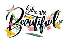 Positive lettering with flowers Free Vec. Doodle Lettering, Brush Lettering, Typography, Stil Inspiration, Interior Inspiration, Bright Quotes, Birthday Coupons, Giving Up Quotes, Doodles