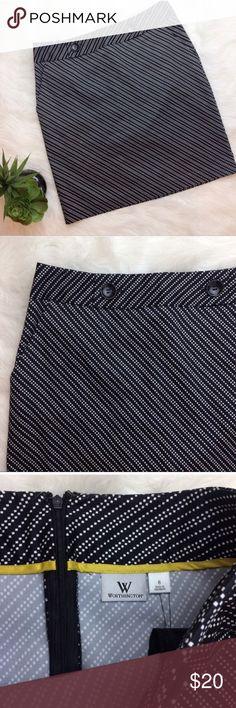 Worthington Black and White Pencil Skirt Worthington black and white pencil skirt. Back zip, no slit. Size 6. 56% cotton• 42% polyester•2% spandex Worthington Skirts Pencil