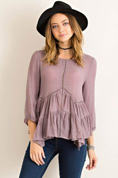 Solid Crinkle Tiered Swing Top