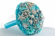 "Aqua Mint Destination Wedding Brooch Bouquet. ""See Sea Zoo"" Starfish Beach…"