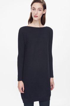 Raised-stripe merino dress
