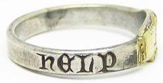"AR00XVANT609 Rare Medieval Silver Gilt Posy Wedding Ring ""God help"" c. 13th - 14th century A.D. Size 10 3/4"