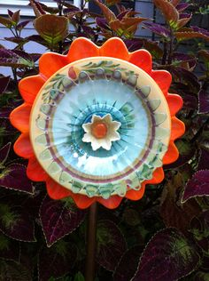 Orange, Turquoise, Blue Green,  & Yellow Glass, Ceramic Garden Art Flower Totem . Perfect for a Fall Garden.