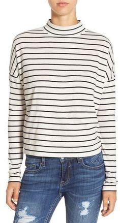 Striped long sleeve shirt on sale for $17. BP. Stripe Long Sleeve Mock Neck Tee