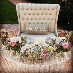 Bride and Groom loveseat for the wedding reception - wonderful idea!