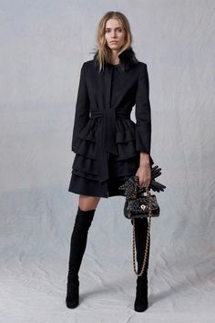 Short Black Coat with Ruffles by Ermanno Scervino - Pre-Fall 2017
