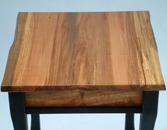 This end table (approx. 24″ tall x 18″ wide x 18″ deep) is made from vertical grainDouglasfir and live edge spalted maple. The fir and maple air dried lumber came from a small mill yard n Eugene,...