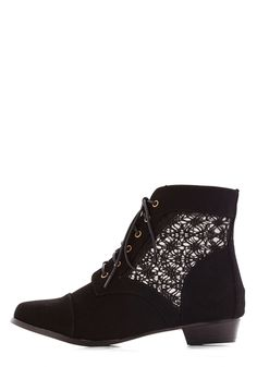 Mesh Well Together Bootie. Everyone's saying what a cute pair you and your new black booties make! #black #modcloth