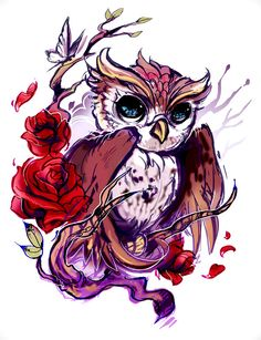 Beautiful impressionist owl tattoo flash  I would replace the roses with black orchids