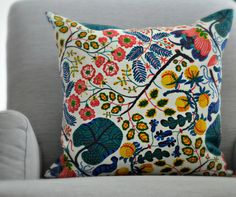 Josef Frank Designer Pillow - Ceylon and Indigo Blue linen 45cm