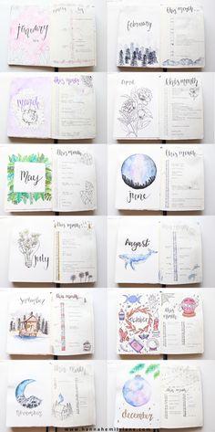 Miesięczne strony tytułowe czasopisma Bullet Journal   www.hannahemilylane.com