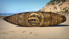 """Aztec Gold - Stippling with paint pens on a surfboard, 6'1"""" x 19"""" - Imgur"""