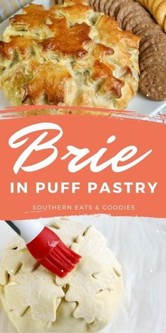 The perfect appetizer! Baked brie in puff pastry with apples and cranberries make this the perfect flavor combination.