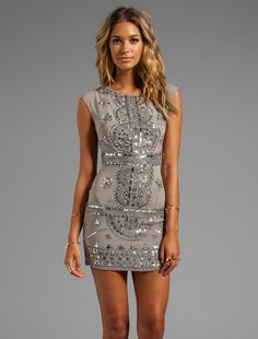 RENZO + KAI - Cap Sleeve Laura Dress in Grey/Antique Silver $495