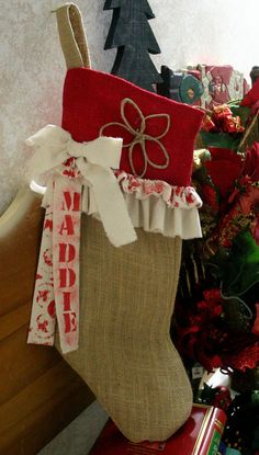 Burlap Christmas Stockings country chic