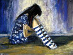 Girl in the Blue Dress – Striped Socks Series – Sharon Cave Striped Socks, Striped Dress, Blue Dresses, Cave, Artwork, Striped Dress Outfit, Work Of Art, Auguste Rodin Artwork, Fringe Dress